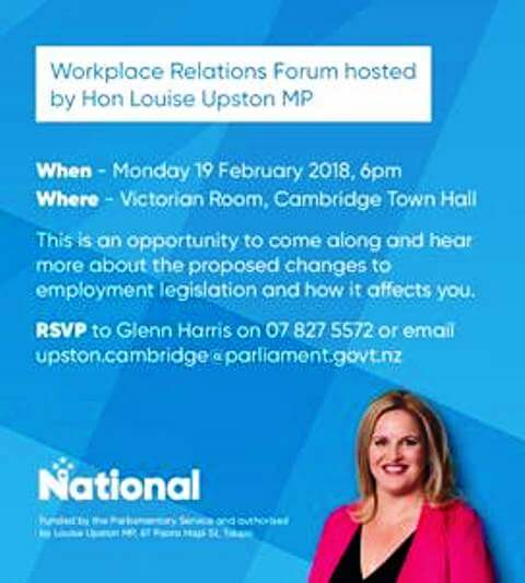 Workplace Relations Forum hosted by Hon Louise Upston MP