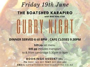 The Baotshed Karapiro Curry Night